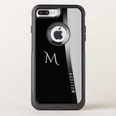 Elegant black white silver name and monogram OtterBox commuter iPhone 8 plus/7 plus case - black and white gifts unique special b&w style