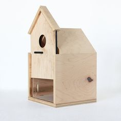 Modern Birdhouse made from maple ply with sliding front door