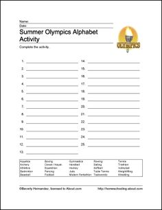 Summer Olympics Printables: Summer Olympics Alphabet Activity