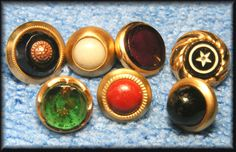 Antique Lot of 7 Small & Diminutive Waistcoat Jewel Glass Charm String Buttons