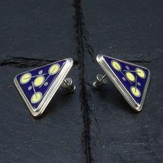 Cloisonne Enamel  Earrings  Triangle Earrings  by StudioIlonaArt
