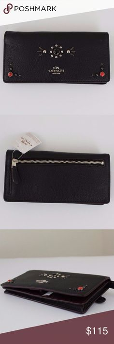 """Coach Western Rivets Slim Wallet Black/Silver Bright, Western rivets turn the spotlight on an eye-catching COACH wallet that's functional, too. Lined in ample pockets and slots, the precise interior conceals a wristlet strap and secures with a simple snap. 7 1/4"""" (L) x 3 1/2"""" (H) Credit card pockets; bill compartment Wrist strap attached Snap closure, fabric lining Outside zip pocket Style No: 57530 Coach Bags Wallets"""