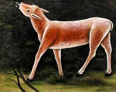 Running Deer by Niko Pirosmani Georgie, Wildlife Paintings, Art Database, Oil Painting Reproductions, Naive Art, Great Artists, Deer, Horses, Art Prints
