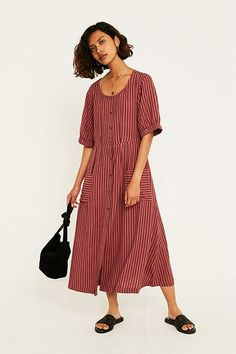 7ab9240b8f2 UO Missy Vertical Stripe Day Dress Casual Jumpsuit