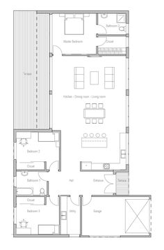 house design contemporary-home-ch268 10 Contemporary House Plans, Modern House Plans, Modern Ranch, Ranch Style Homes, Modern Family, Shelving, Floor Plans, House Design, How To Plan