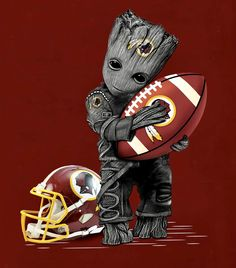 Groot and Redskins Washington Redskins, Superhero, Fictional Characters, Hs Sports, Superheroes, Fantasy Characters