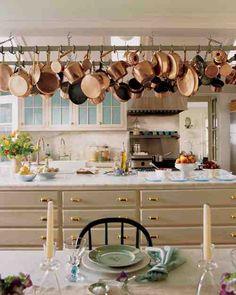 my favorite Martha Stewart kitchen, from my favorite Martha Stewart home Turkey Hill. Copper Pots, Copper Kitchen, Kitchen Dining, Kitchen Pans, Dining Area, Kitchen Island, Kitchen White, Dining Room, Martha Stewart Kitchen