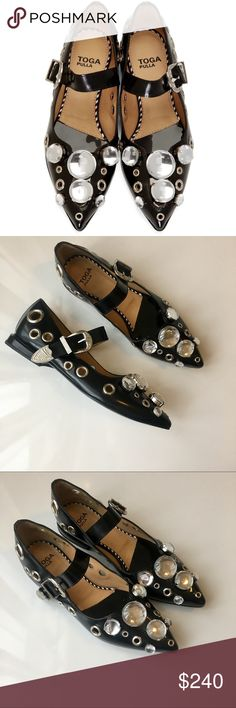 Toga Pulla Polido Embellished Ballerina Shoes brand new toga pulla polido shoes - EU 36 - US size 6 Features a pointy toe w / grommets and chunky crystals. Adjustable strap with buckle closure. 100% leather. retail $460. Open to reasonable offers :-) TOGA Pulla Shoes Flats & Loafers
