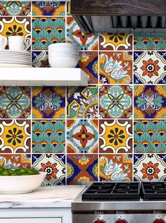 Tile Stickers for Kitchen Bath or Floor Waterproof Mexican Spanish Mix Decals Tr008 Malibu by SnazzyDecal on Etsy