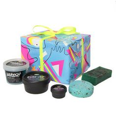 There is nothing better than a boxful of LUSH goodies! This sampler lets the lucky recipient try a little bit of everything: soap, shower jelly, solid shampoo, body/face scrub, and cuticle butter.