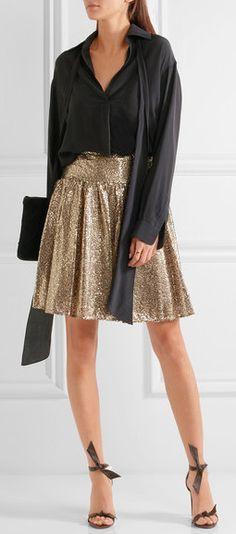 MICHAEL Michael Kors - Sequined Tulle Mini Skirt - Gold