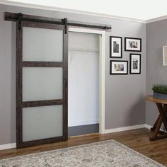 Erias Home Designs Continental Frosted Glass 1 Panel Ironage Laminate Interior Barn Door - March 02 2019 at Glass Barn Doors, Glass French Doors, Interior Barn Doors, Exterior Doors, Entry Doors, Front Doors, Patio Doors, Rustic Exterior, Interior Sliding Glass Doors