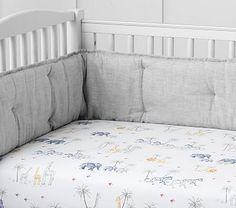 Organic Owen Safari Crib Fitted Sheet, Crib Fitted, Gray Multi