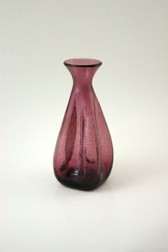 Blenko Pinch Sided Bud Vase 533 Designed by Winslow Anderson in Plum - Crackle Glass