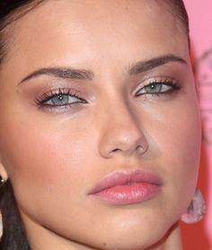 adriana lima shimmery rosy bronze eyes black liner, pink cheeks, shimmery lips