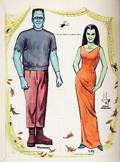 Herman & Lily Munster Paper Dolls