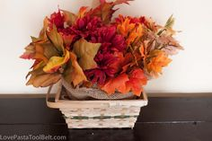 Dollar Store Fall Centerpiece - A beautiful, easy and inexpensive fall centerpiece. Buy the supplies for just a few dollars and create this great centerpiece!