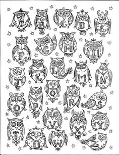 Instant Download OWL Alphabet Coloring Page door ChubbyMermaid