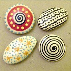 Creative craft ideas. Painted pebbles - handmade magnets