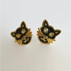 "Black Cat Earrings, Vintage Avon ""Precious Cat"" Pierced Earrings,... (€14) ❤ liked on Polyvore featuring jewelry and earrings"