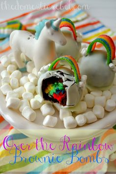 Over the Rainbow Brownie Bombs are fun, festive treats perfect for birthdays or St. Patty's Day! #rainbow