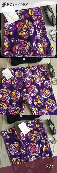 LulaRoe DISNEY ROSES PURPLE TC Leggings!  LulaRoe DISNEY ROSES PURPLE TC Leggings! DARLING!!! DARK PURLPE background with gorgeous roses in white, berry, mustard yellow & lavendar ! These are SO FUN & Classy at the same time!  NEW PRINT! Unbelievable! These are made in Vietnam. * I am not a consultant… I am just a LulaRoe addict and love the hunt to find great prints! Enjoy!  {$25 is not an acceptable offer} Beauty & The Beast remake will be out soon... Perfect to wear to the theater…