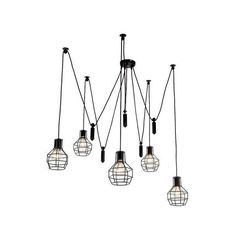 LNC 5-Light Industrail Pendant Light,Matte Black,Iron Cage Shade (€115) ❤ liked on Polyvore featuring home, lighting, ceiling lights, matte black pendant light, iron pendant light, iron lighting, iron lamp and iron ceiling lights