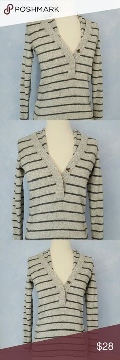 "Banana Republic Striped Sweater Cute hooded sweater in two shades of gray. Three buttons in front. Excellent condition. No holes or pilling. Measures 23"" in length and 17"" across bust. I cut out the tag but it is a wool acrylic blend. Can be handwashed. Line dry. Banana Republic Sweaters"
