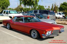 lowrider cars   1973 Buick Riviera Low-rider. Did he park this thing or dock it? That ...