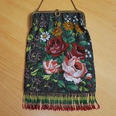 Colorful Floral Beaded Purse