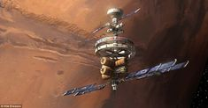 This drawing shows a space station orbiting the red planet, bearing some similarities to the ISS. Large cylindrical fuel tanks are at the bottom, while solar panels extend into space to gather sunlight