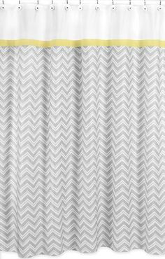 This designer collection zig zag pattern adds a touch of style and a splash of color to the bathroom. The easy bathroom makeover can easily pair with coordinating Sweet JoJo Designs room accessories t Yellow Shower Curtains, Modern Shower Curtains, Grey Curtains, Bathroom Curtains, Fabric Shower Curtains, Turquoise Curtains, Chevron Curtains, Long Curtains, Window Curtains