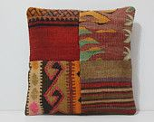 chair cushion 16x16 DECOLIC patchwork cushion cover decorative pillow funky cushion cover colorful pillow coral red 15434 kilim pillow 40x40