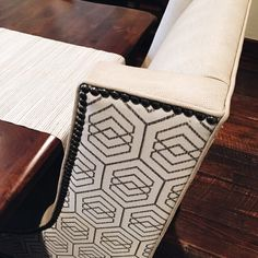 So, about those custom chairs our team designed... Wipeable upholstery on the seated area and a fun graphic pattern on back. It's a beautiful thing to be able to use your furniture without fear!