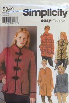 Simplicity 5348 Misses'/Miss Petite Coat or Jacket and Vest