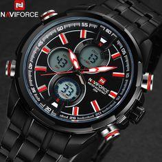 NAVIFORCE men watches fashion casual brand men dual display watches digital analog LED Electronic quartz wristwatches 3ATM clock