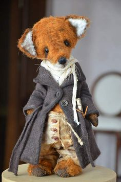 Fox Wanderer for CINDY By Evgeniya Sidorenko - Our Fox loves to travel. He's always on the go! I hope he finds his home and finally settle down. Fox is made from German mohair. Stuffed by sawdust and steel granulate.He had glass eyes. Clothes are made cotton, toning oil paints and pastels. 5 cotter pin joints Fox is tonin...