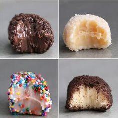Brazilian Truffles (Brigadieros) 4 Ways (Baking Desserts Videos) Candy Recipes, Baking Recipes, Sweet Recipes, Dessert Recipes, Cookie Dough Recipes, Dishes Recipes, Recipes Dinner, Easy Desserts, Delicious Desserts