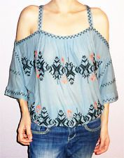NWOT FREE PEOPLE Boho New World Cold Shoulder Top sz PS Blue Green Embroidered