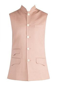 Ankit V Kapoor.Featuring a dusty rose colored jacquard nehru jacket in imported poly crepe base with pockets. Nehru Jackets, Men's Jackets, Dusty Rose Color, Indian Man, Mens Fashion Suits, Menswear, Base, Pockets, How To Wear
