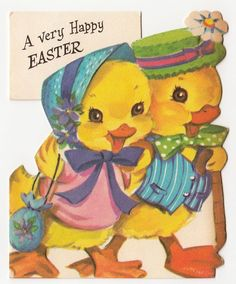 Vintage Greeting Card Easter Cute Chick Couple Die-Cut 1950s Prestige a203