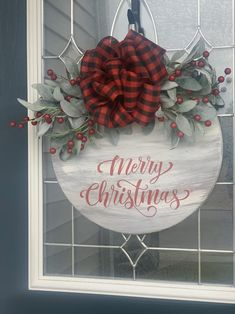 Buffalo Plaid Christmas Wreath Christmas Wreath Front Door | Etsy Christmas Names, Plaid Christmas, Christmas Wreaths, Christmas Decorations, Holiday Decor, Wood Boards, Scarf Crochet, Wreaths For Front Door, Buffalo Plaid