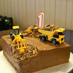 My Little Rays of Sunshine: The Digger Cake Excavator Cake, Digger Cake, Make Do And Mend, Construction Party, 2nd Birthday, Birthday Ideas, Birthday Cakes, Diy Cake, Beautiful Cakes