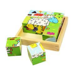 Joc de tip puzzle ce contine 9 piese sub forma de cub. Fiecare cub are imprimata pe fiecare fata o imagine partiala diferita a unui animal domestic. Copiii trebuie sa reconstituie imaginea completa, rotind cuburile din lemn pentru a obtine 6 imagini diferite.  Dimensiune: 12.5 x 12.5 x 4.5 cm. Varsta recomandata: 18 luni+