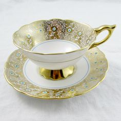 Royal Stafford Gold Tea Cup and Saucer, Vintage Bone China, Gold Chintz, Royal Stafford Cup and Saucer Tea Cup Set, My Cup Of Tea, Tea Cup Saucer, Tea Sets, Antique Tea Cups, Vintage Cups, China Cups And Saucers, Teapots And Cups, Royal Stafford