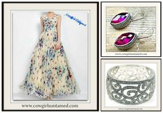 COWGIRL GYPSY DRESS Butterfly Floral Empire Waist Chiffon Sleeveless Lace Up Sides Long Dress/ 925SS Fuchsia Gemstone Earrings/ Silver Filigree Cuff  #dress #maxidress #eveningdress #chifon #longdress #sleeveless #butterflies #butterfly #purple #blue #cream #wedding #women #bridesmaid #promdress #filigree #vintage #silver #cowgirl #gypsy #jewelry #beautiful #floral #bridesmaid #onlineshopping