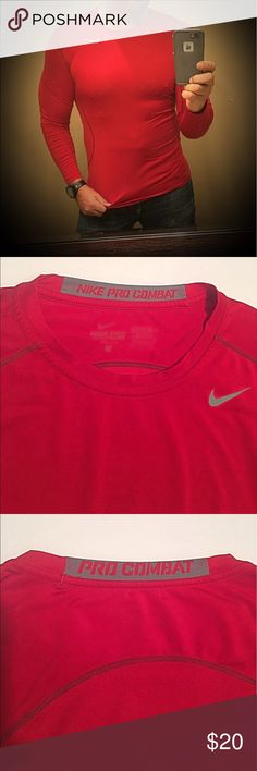 Men's Nike Pro Combat Fitted Dri Fit shirt Sz L Men's Nike Pro Combat Fitted Dri Fit shirt Sz L.  This shirt is in excellent pre owned condition. Please be sure to check out my other listings for the hottest mens fashion on the net 🔥.  Open to reasonable offers Nike Shirts Tees - Long Sleeve