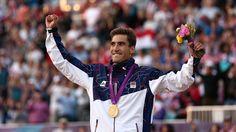 Gold medallist David Svoboda of Czech Republic celebrates during the medal ceremony for the Men's Modern Pentathlon on Day 15 of the London 2012 Olympic Games