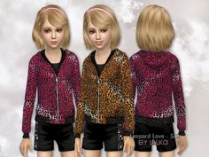 This 2 part set includes Leopard Print Sweater and Leather Shorts for girls Found in TSR Category 'Sims 4 Female Clothing Sets' Black Leather Shorts, Leather Jacket, Sims 4 Children, Sims 4 Clothing, Sims 4 Update, My Sims, Short Girls, Outfit Sets, Female