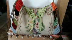 Sweet Billie Bag.  Love needlepoint, velvets, french ribbon, antique brooch?  Its all in this medium size Billie bag!